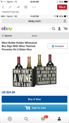 Wine Theme Kitchen, Wine Signs, Wine Bottle Holders, Ebay Search, Box Signs, Fine Wine, Whimsical, Day, Wine Themed Kitchen