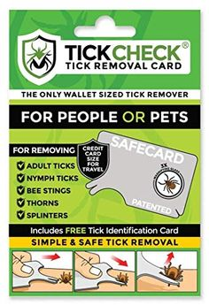 Find the best prices on TickCheck Tick Remover Card - Wallet Sized Tick Removal Tool Pack) and save money. Tick Removal, Removal Tool, Ticks On Humans, Lyme Disease Prevention, Types Of Ticks, Flea And Tick Spray, Cedar Oil, Bee Sting, Plastic Card