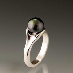 Black Tahitian Button Pearl Sterling Silver Ring by nodeform