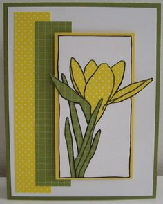 hand crafted card by Loll .. olive, yellow and white ... paper pieced crocus ... luv the polka dot prints for the flower and grid print for the leaves ... mats and background all matching ... Stampin' Up!