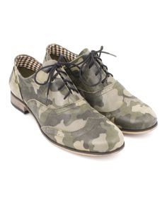 Moro Green Camo Wingtip Leather Oxford