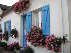 Blue shutters and pink flowers in Brittany, France