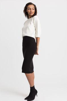 Modern Citizen   Jackie Ribbed Pencil Skirt (Black) $72