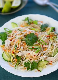 Share: Share on pinterest_share Share on facebook Share on twitter Share on google_plusone_share Share on email     Vietnamese chicken noodle salad A fresh and flavorful Vietnamese salad with rice noodles, shredded chicken, crisp vegetables and crunchy peanuts.