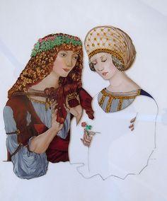 De face Reverse painting on glass - Peinture sous verre - Hinterglasmalerei