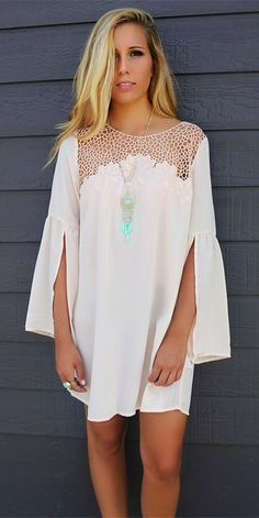 Lace Splicing See-Through Furcal Dress