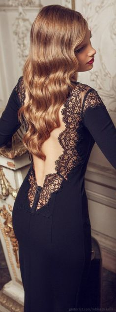 Olga Skazkina Black Open Back Lace Gown.....exquisite. #Fashion #Style
