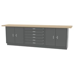 """WALL WORKBENCH - All welded construction. Overall size - 120""""l x 24""""d x 36.75""""h - SixDrawers and Two Double Door Base Cabinets."""