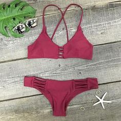 Cupshe Wine and Coffee Lace Up Bikini Set