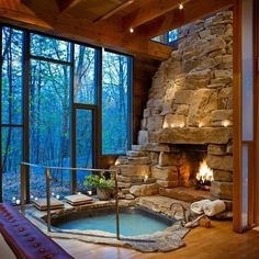 This should be our bedroom!! Only concern I have is the lack of room to work on the fire... So this would either have to be gas or a two sided fireplace.