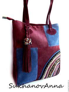 """Купить Сумка """"Бордо"""" - бордовый, синий, синий и бордовый, сумка замшевая, сумка из замши"""
