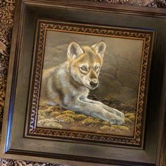 Wolf puppy watercolor on board with sterling silver Rebecca Latham  #wildlife #watercolor #art #animals #painting #miniature #picture #artist #miniatureart #realism #animallovers #wolf #canine #timberwolves #puppy #cub