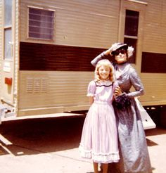 """Behind the scenes of Little House on the Prairie: Katherine MacGregor and Alison Arngrim (I personally love the sunglasses Mrs. Oleson is """"rocking"""")"""