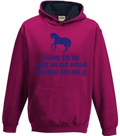 TWO TONE Hot Pink/Navy Hoodie 'IF YOU CAN READ THIS PEASE PUT ME BACK ON MY HORSE' with Pearlescent Blue Print.