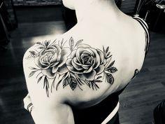 Rose shoulder tattoo in black & shading #roseshouldertattoos