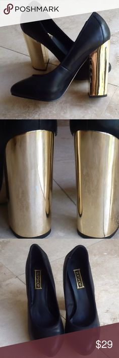 TOPSHOP leather and gold platforms Beautiful black leather with bold gold heals. These were worn once for an event. Ask for more pictures. Black is hard to photograph. Heals are 4 3/4 high. One small scratch on right shoes on gold part. EU size is 38 which some charts say is a 7 1/2. Posh chart say they are 8 but they fit like a 7 1/2. Topshop Shoes Platforms