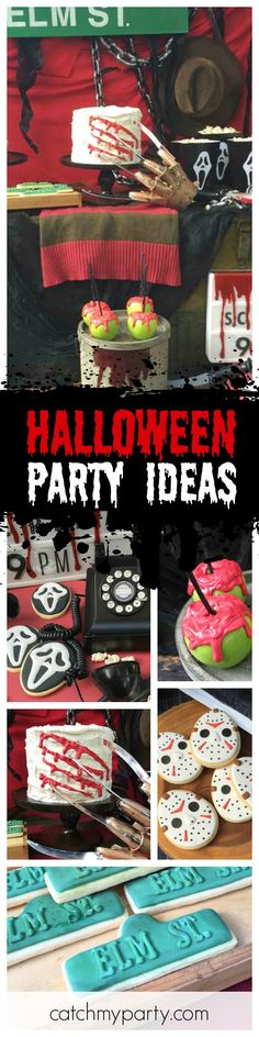 This movie inspired Halloween party is so cool! Love the Nightmare on Elm St. cake and Scream cookies! See more party ideas and share yours at CatchMyParty.com