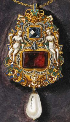 Oil on canvas by Hans Mielich depicting one of the jewels in the possession of Duchess Anna von Bayern. Painted in between 1552-1555