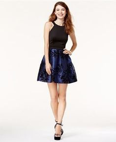 921270785f6 Teeze Me Juniors  Flocked Pleated-Skirt Fit  amp  Flare Dress Junior  Homecoming Dresses