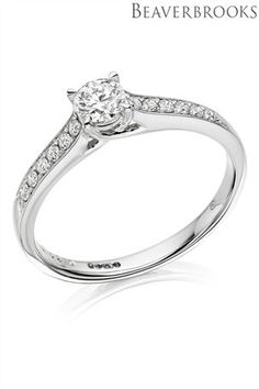 Buy Beaverbrooks White Gold Diamond Solitaire Ring from the Next UK online shop Apichaya could pay for wedding, or new clothes for all 4 of us or half of this So many plans, is lol xxxx White Gold Rings, White Gold Diamonds, Beaverbrooks, Diamond Solitaire Rings, Diamond Clarity, Something Blue, New Outfits, Engagement Rings, Jewels