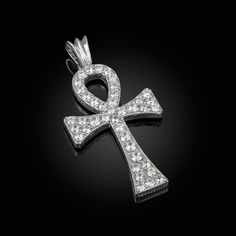 "2/"" Men/'s Ankh CROSS Iced Out CZ Bow Tie Pendant White Sterling Silver 925"