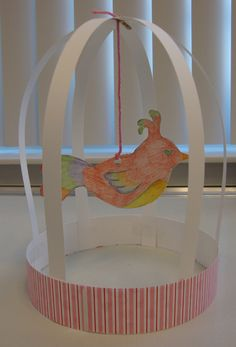 Pet Party: Make a bird in a cage craft.: Bird Cage Sculptures (original source for the idea) Bird Crafts, Animal Crafts, Paper Crafts, Paper Glue, Cut Paper, Paper Art, Art For Kids, Crafts For Kids, Arts And Crafts