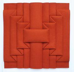 """Peter Weber [Germany] (b 1944) ~ """"Stripes Interpenetration FOR6"""", 2013. Felt orange folded (84 x 84 cm)."""