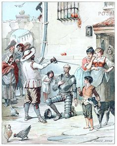 In the middle of his delivery he raised his hand and gave him a sturdy blow on the neck.  Jules David, frontispiece from El Quijote de la juventud (Don Quixote for the young folks), by Miguel de Cervantes Saavedra, excerpts selected by Domingo López Sarmiento, Paris, 1888.