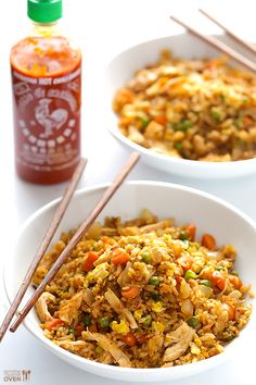Spicy Chicken Fried Rice -- kicked up a notch with some sriracha, and ready to go in about 20 minutes!   gimmesomeoven.com