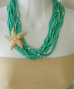 Starfish Necklace Turquoise and Gold Necklace by stylelovers