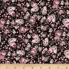 Designer Rayon Gauze Shirting Floral Pink/Black from fabric.com
