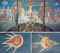 """Ancient Aliens in """"The Crucifixion"""" Painting by Jacques Legrand (1350 AD).This painting by  contains some amazing references to ancient aliens. The image is held at Chantilles Museum, and was painted by this French Artist in 1350. The images are significant as they seem to contain UFO type """"sky-pods"""" with astronauts piloting them. These craft seem to include levers for the men to pilot them. Some argue that these objects are hot air balloons, yet balloons had not yet been invented at this…"""