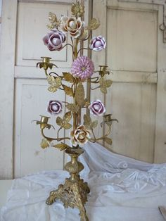 . Lovely Candelabra. purple bisque flowers.