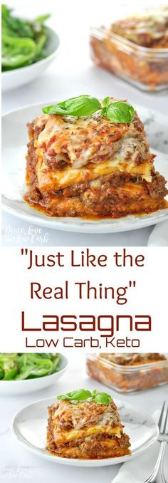 """Just Like the Real Thing"" Low Carb Keto Lasagna - Peace Love and Low Carb via @PeaceLoveLoCarb"