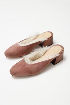 Image of Mari Giudicelli Leblon Mule - rose suede with fur lining