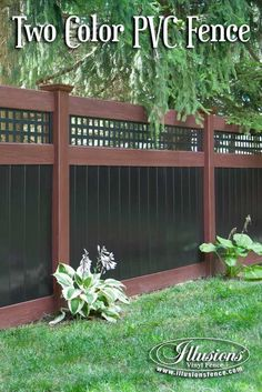 Fence Ideas That Add Curb Appeal. Incredible Rosewood and Black PVC Vinyl Privacy Fence with Square Lattice Topper from Illusions Vinyl Fence. The perfect fencing panel accent to any outdoor living space. #fenceideas