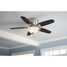 shop hunter louden 46in brushed nickel flush mount indoor ceiling fan with light kit - Flush Mount Ceiling Fans