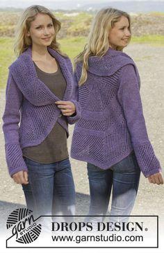 Casaco DROPS tricotado em redondo, em ponto jarreteira, com ponto de ajours, em Big Merino. Do S ao XXXL. Modelo gratuito de DROPS Design.
