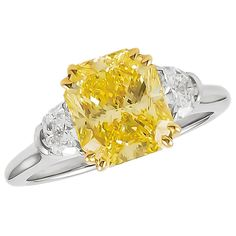 Harry Winston Vivid Yellow 3.03 Carat GIA Cert Diamond Gold Ring | From a unique collection of vintage engagement rings at https://www.1stdibs.com/jewelry/rings/engagement-rings/