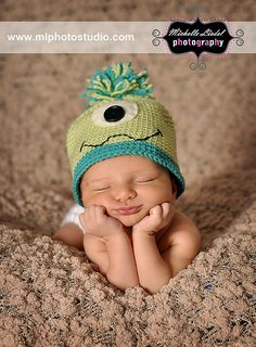 Custom Crochet Monster Hat  in Blue and Green for Babies and Children. $18.00, via Etsy.