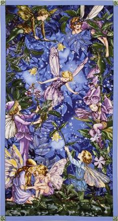 Licensed by the Estate of Cicely Mary Barker to Michael Miller Fabrics, this panel features night flower fairies. The panel measures about x The color palette includes shades of blue, purple and green. Use for quilting and craft projects. Cicely Mary Barker, Fairy Dust, Fairy Land, Fairy Tales, Fantasy Kunst, Fantasy Art, Fantasy Fairies, Elfen Fantasy, Night Flowers
