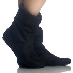 Black-Suede Slouch Scrunch Fold Over Fashion Womens Flat Ankle Boots