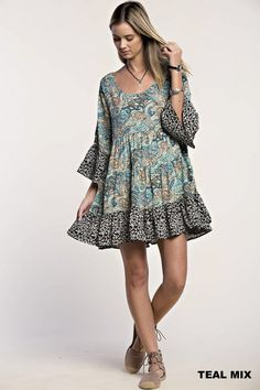 Paisley Ruffle Peasant Dress - Teal Mix | Knitted Belle Boutique
