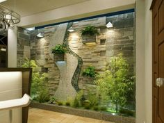 38 Spectacular Indoor Garden Design Ideas To Try Right Now - While it may not be difficult to have a vegetable garden in your own backyard, it's different when it's going to be inside of your house. An indoor ga. Interior Garden, Interior Exterior, Home Interior Design, Interior Architecture, Interior Decorating, Simple Living Room Decor, Plant Decor, Plant Wall, Backyard Landscaping