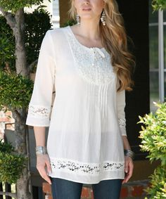 Another great find on #zulily! Ananda's Collection Beige Lace Tie-Up Tunic - Women by Ananda's Collection #zulilyfinds