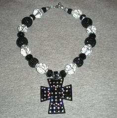 Black Cross Beaded Necklace by sassygirlsx3 on Etsy, $25.95