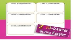 The Zonk-O-Meter Score Keeper is a score keeping sheet that can be used when playing the ZONK review game created by The Weekend Teacher. Help Teams or players keep up with their points by using this valuable resource! Don't forget to check out The Weekend Teacher's ZONK game!