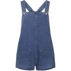TOPSHOP MOTO Patch Pocket Playsuit (2,755 PHP) ❤ liked on Polyvore featuring jumpsuits, rompers, overalls, playsuits, romper, shorts, bleach, overall, bib overalls and blue romper