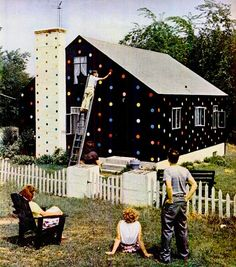 Polka dot House, from Life magazine, April, 1952.  The house was the work of Emery Jernquist, who had painted his Warwick, RI house black, but then decided it looked too somber.