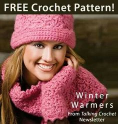 Crochet hat, gloves and scarf